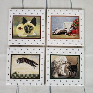 Vtg Lowell Herrero Cat Coaster Tiles Set of 4